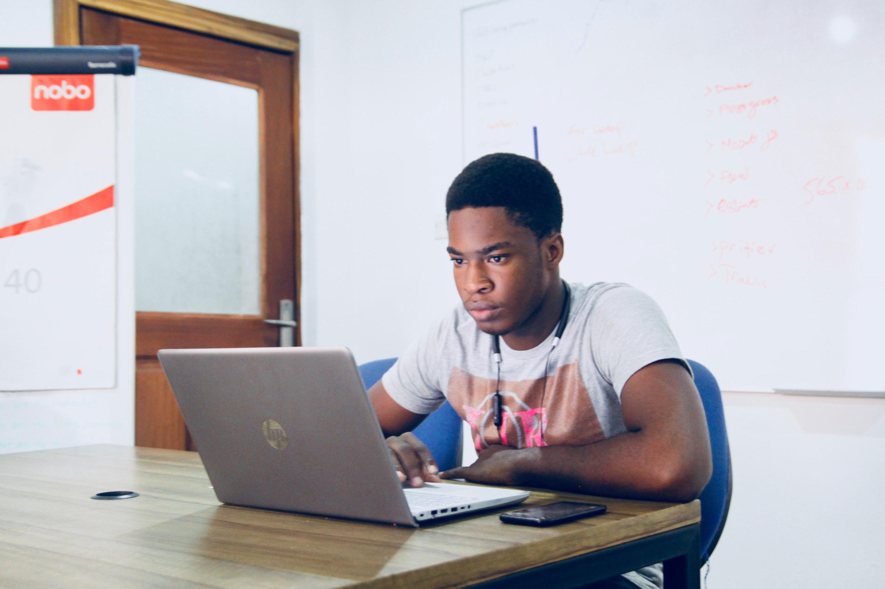 Young man at laptop
